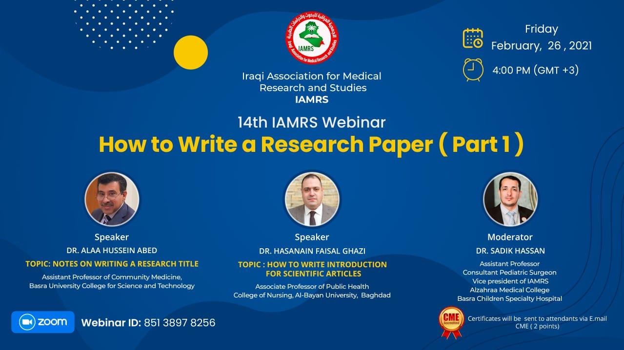 14th IAMRS Webinar